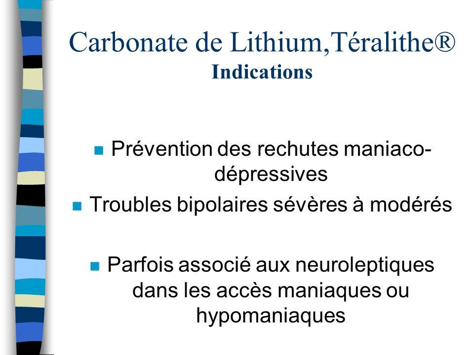 Carbonate de Lithium,Téralithe® Indications n Prévention des rechutes maniaco- dépressives n Troubles bipolaires sévères à modérés n Parfois associé a
