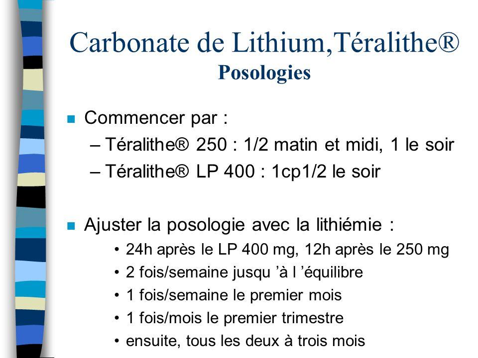 Carbonate de Lithium,Téralithe® Posologies n Commencer par : –Téralithe® 250 : 1/2 matin et midi, 1 le soir –Téralithe® LP 400 : 1cp1/2 le soir n Ajus