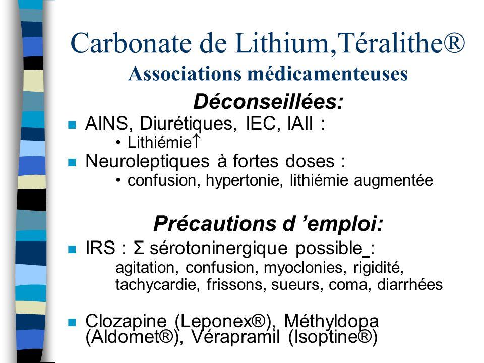 Carbonate de Lithium,Téralithe® Associations médicamenteuses Déconseillées: n AINS, Diurétiques, IEC, IAII : Lithiémie n Neuroleptiques à fortes doses