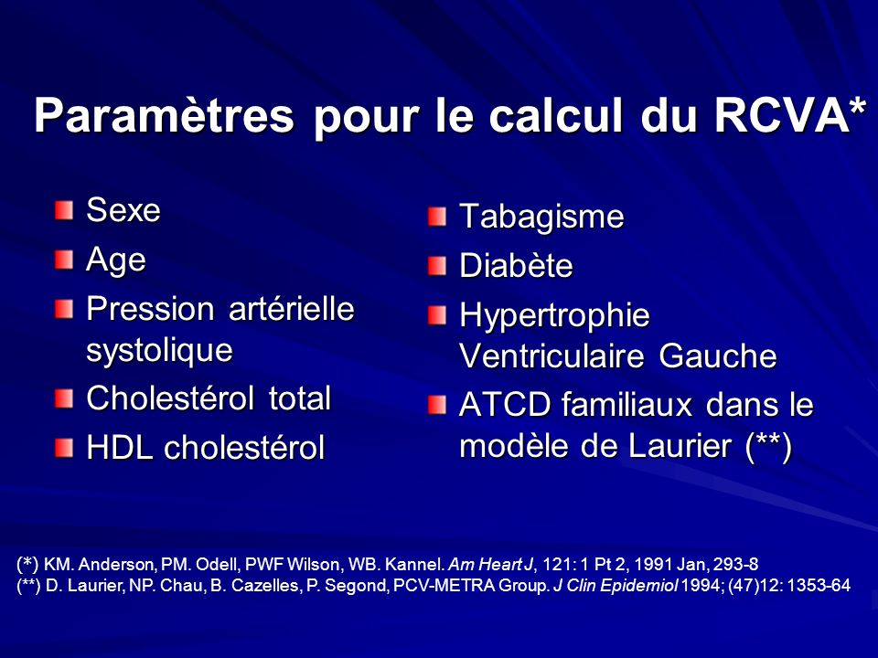 Paramètres pour le calcul du RCVA* SexeAge Pression artérielle systolique Cholestérol total HDL cholestérol TabagismeDiabète Hypertrophie Ventriculair