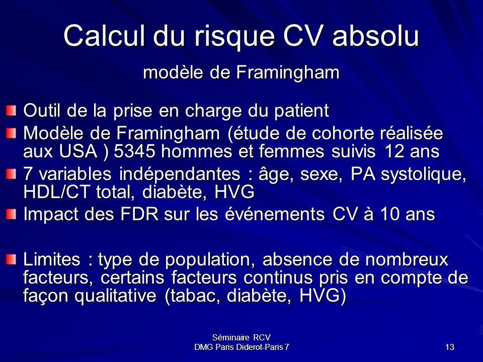 Séminaire RCV DMG Paris Diderot-Paris 7 13 Calcul du risque CV absolu modèle de Framingham Outil de la prise en charge du patient Modèle de Framingham