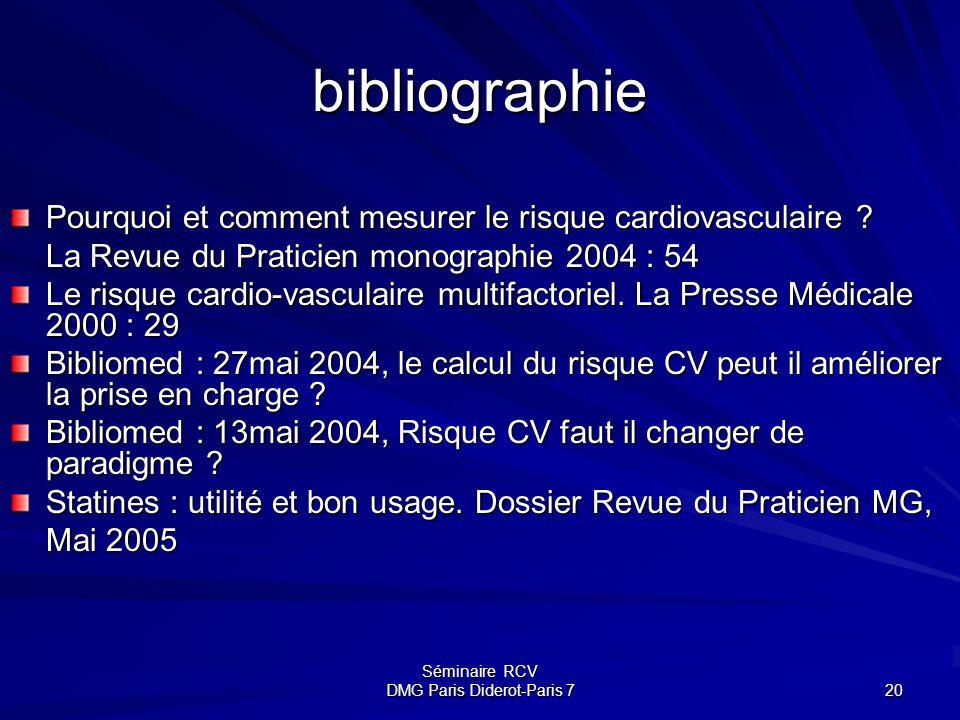 Séminaire RCV DMG Paris Diderot-Paris 7 20 bibliographie Pourquoi et comment mesurer le risque cardiovasculaire ? La Revue du Praticien monographie 20