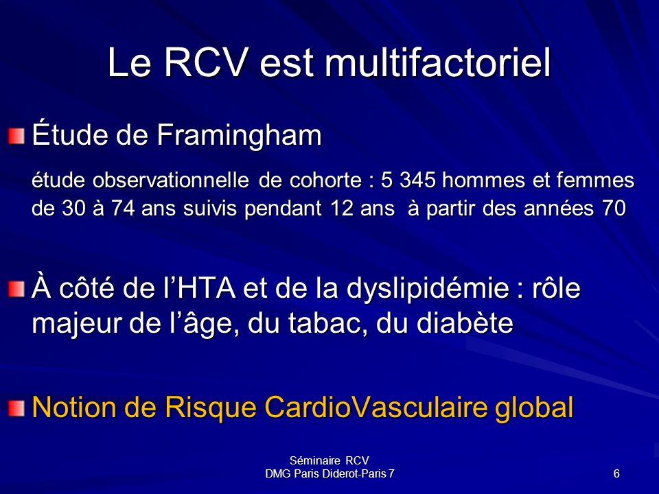Séminaire RCV DMG Paris Diderot-Paris 7 6 Le RCV est multifactoriel Étude de Framingham étude observationnelle de cohorte : 5 345 hommes et femmes de