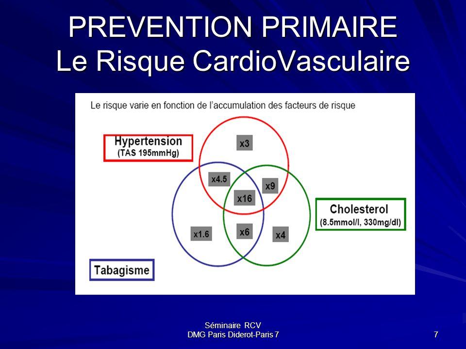 Séminaire RCV DMG Paris Diderot-Paris 7 7 PREVENTION PRIMAIRE Le Risque CardioVasculaire