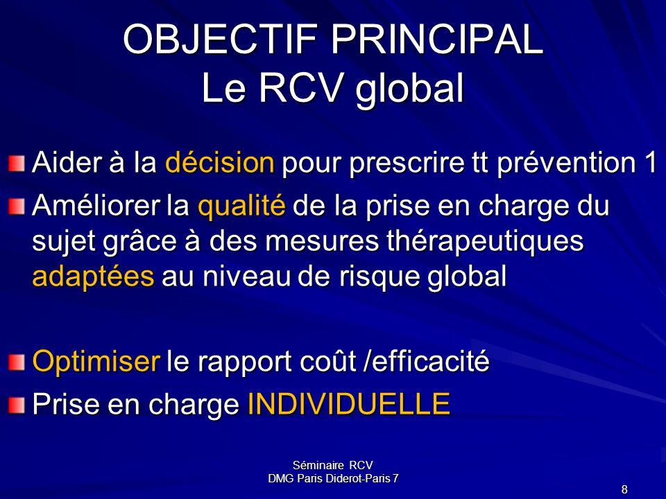 Séminaire RCV DMG Paris Diderot-Paris 7 8 OBJECTIF PRINCIPAL Le RCV global Aider à la décision pour prescrire tt prévention 1 Améliorer la qualité de
