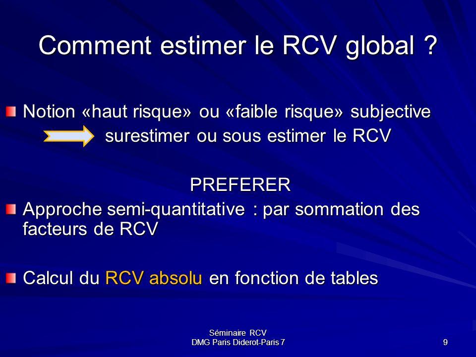 Séminaire RCV DMG Paris Diderot-Paris 7 9 Comment estimer le RCV global ? Notion «haut risque» ou «faible risque» subjective surestimer ou sous estime