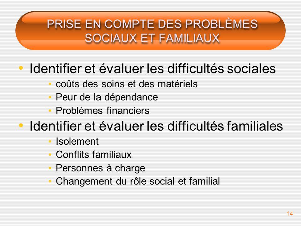 14 PRISE EN COMPTE DES PROBLÈMES SOCIAUX ET FAMILIAUX Identifier et évaluer les difficultés sociales coûts des soins et des matériels Peur de la dépen
