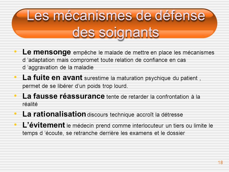18 Les mécanismes de défense des soignants Le mensonge empêche le malade de mettre en place les mécanismes d adaptation mais compromet toute relation