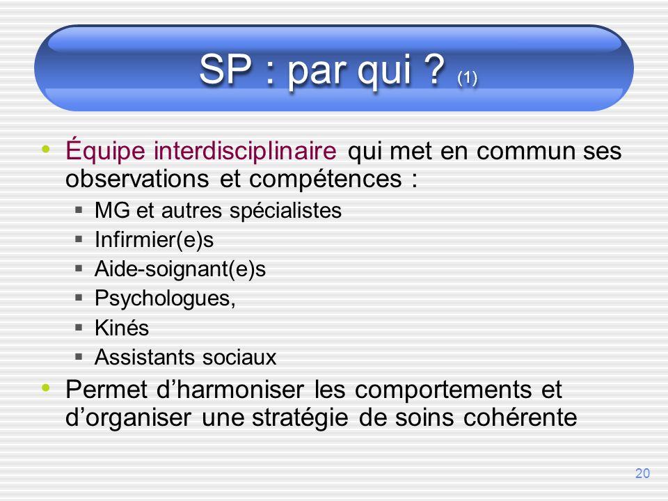 20 SP : par qui ? (1) Équipe interdisciplinaire qui met en commun ses observations et compétences : MG et autres spécialistes Infirmier(e)s Aide-soign