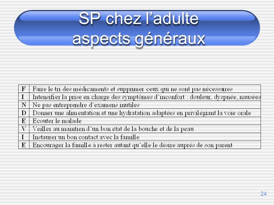 24 SP chez ladulte aspects généraux