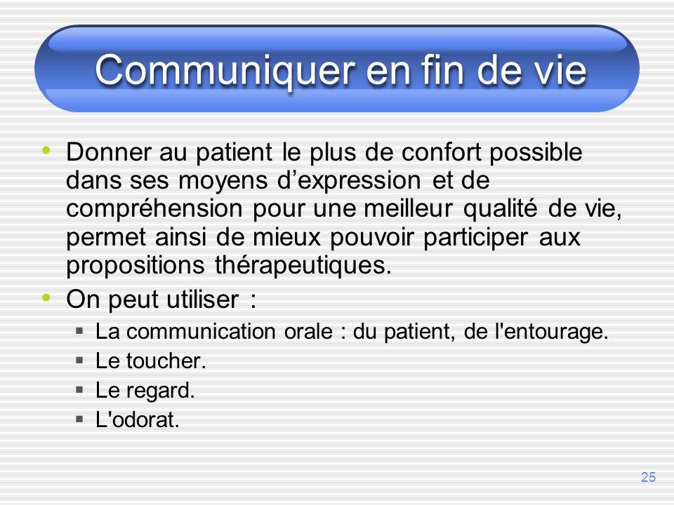25 Communiquer en fin de vie Donner au patient le plus de confort possible dans ses moyens dexpression et de compréhension pour une meilleur qualité d