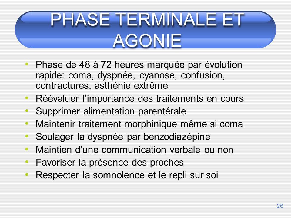 26 PHASE TERMINALE ET AGONIE Phase de 48 à 72 heures marquée par évolution rapide: coma, dyspnée, cyanose, confusion, contractures, asthénie extrême R