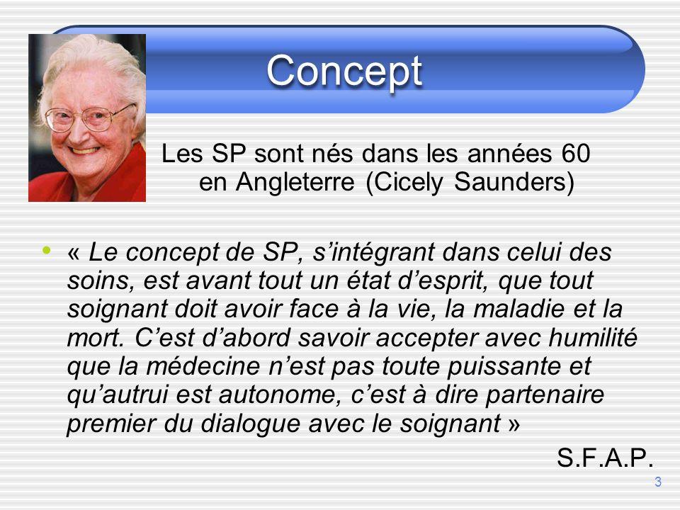 3 Concept Les SP sont nés dans les années 60 en Angleterre (Cicely Saunders) « Le concept de SP, sintégrant dans celui des soins, est avant tout un état desprit, que tout soignant doit avoir face à la vie, la maladie et la mort.