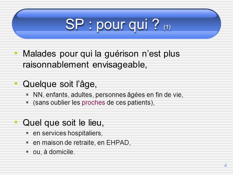 4 SP : pour qui ? (1) Malades pour qui la guérison nest plus raisonnablement envisageable, Quelque soit lâge, NN, enfants, adultes, personnes âgées en