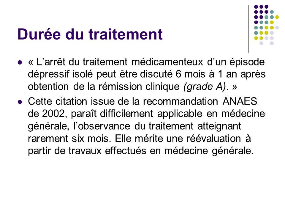Durée du traitement « Larrêt du traitement médicamenteux dun épisode dépressif isolé peut être discuté 6 mois à 1 an après obtention de la rémission c