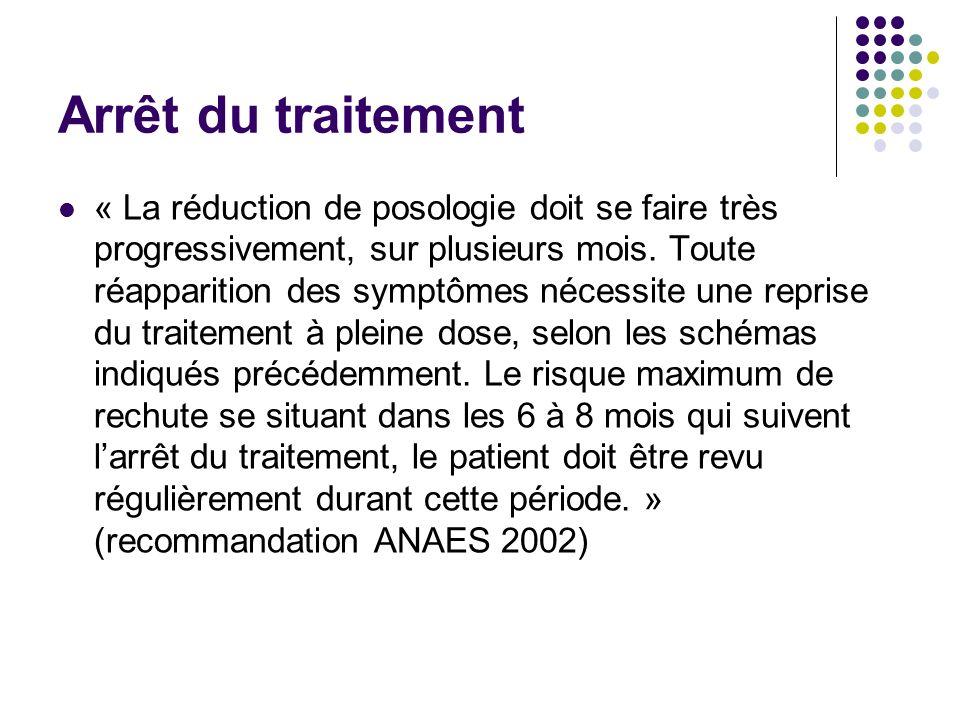 Arrêt du traitement « La réduction de posologie doit se faire très progressivement, sur plusieurs mois. Toute réapparition des symptômes nécessite une