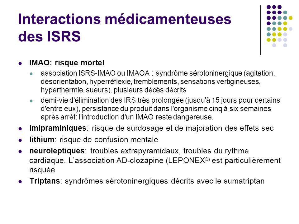 Interactions médicamenteuses des ISRS IMAO: risque mortel association ISRS-IMAO ou IMAOA : syndrôme sérotoninergique (agitation, désorientation, hyper