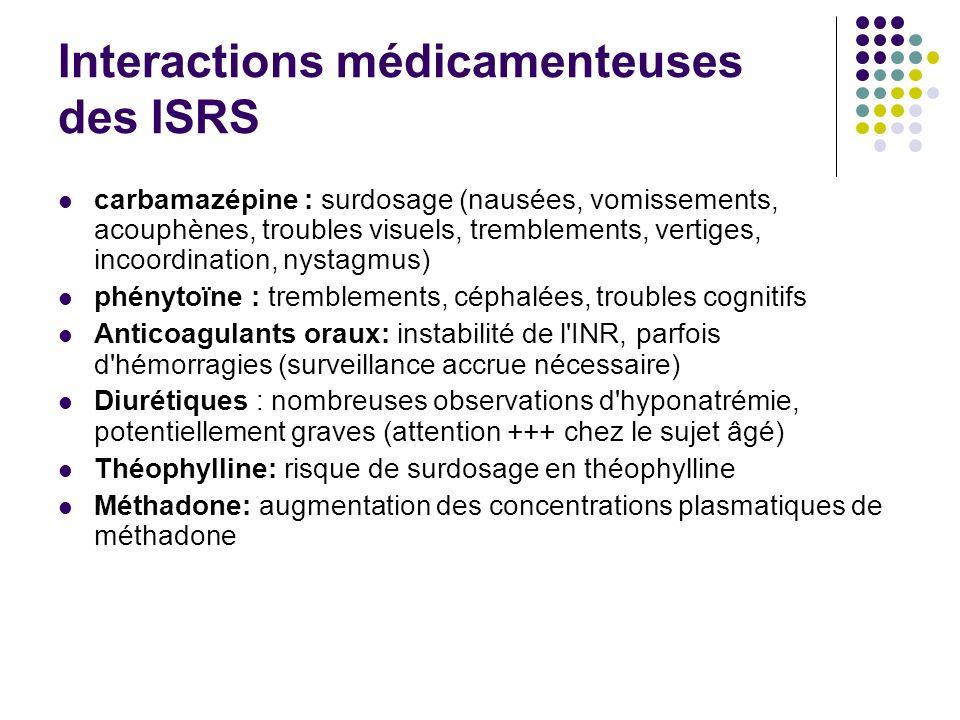 Interactions médicamenteuses des ISRS carbamazépine : surdosage (nausées, vomissements, acouphènes, troubles visuels, tremblements, vertiges, incoordi