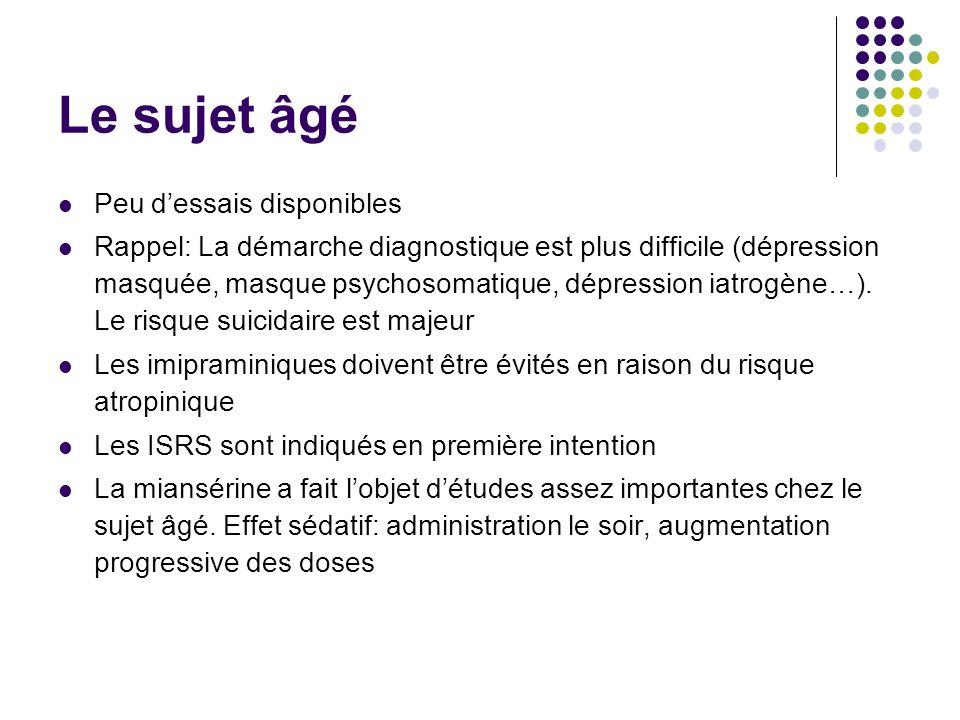 Le sujet âgé Peu dessais disponibles Rappel: La démarche diagnostique est plus difficile (dépression masquée, masque psychosomatique, dépression iatro