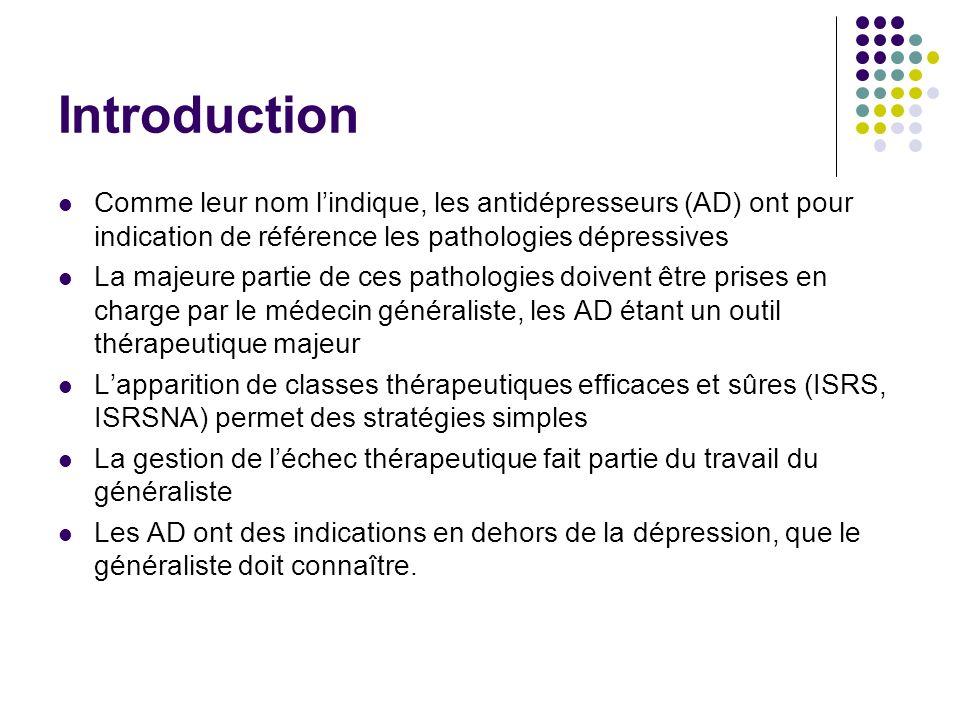 Introduction Comme leur nom lindique, les antidépresseurs (AD) ont pour indication de référence les pathologies dépressives La majeure partie de ces p
