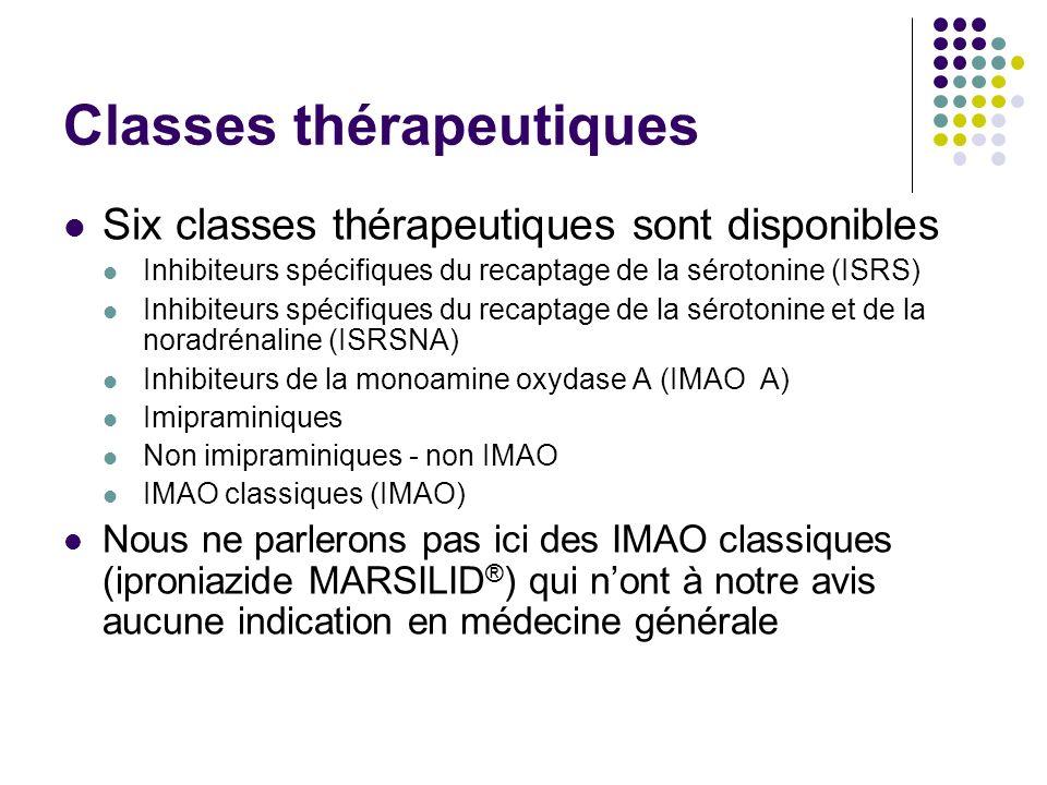 Classes thérapeutiques Six classes thérapeutiques sont disponibles Inhibiteurs spécifiques du recaptage de la sérotonine (ISRS) Inhibiteurs spécifique