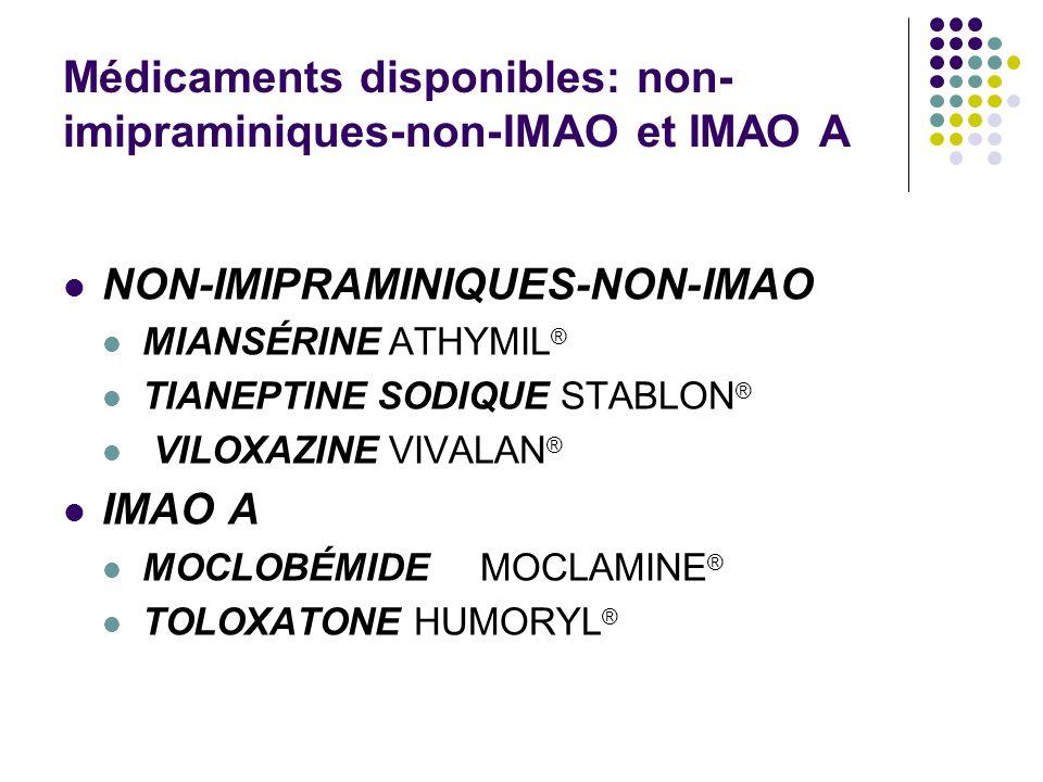 Médicaments disponibles: non- imipraminiques-non-IMAO et IMAO A NON-IMIPRAMINIQUES-NON-IMAO MIANSÉRINE ATHYMIL ® TIANEPTINE SODIQUE STABLON ® VILOXAZI