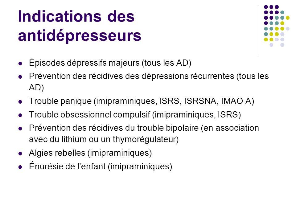 Indications des antidépresseurs Épisodes dépressifs majeurs (tous les AD) Prévention des récidives des dépressions récurrentes (tous les AD) Trouble p