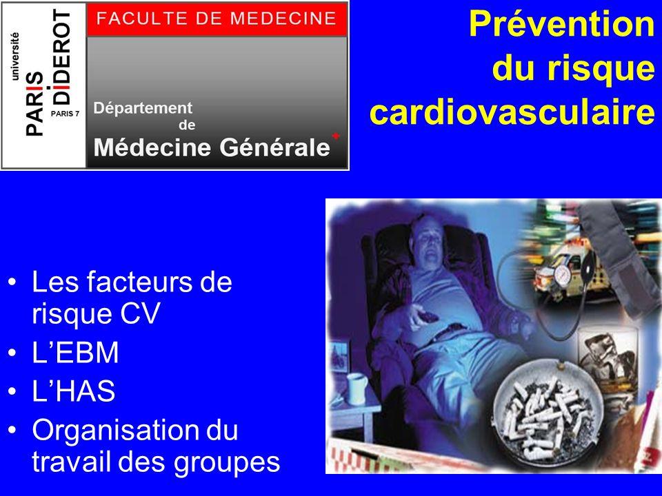 1 Prévention du risque cardiovasculaire Les facteurs de risque CV LEBM LHAS Organisation du travail des groupes
