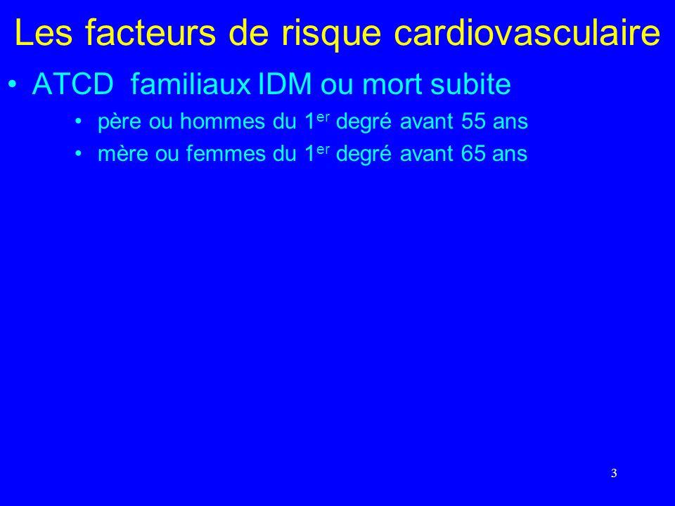 3 ATCD familiaux IDM ou mort subite père ou hommes du 1 er degré avant 55 ans mère ou femmes du 1 er degré avant 65 ans
