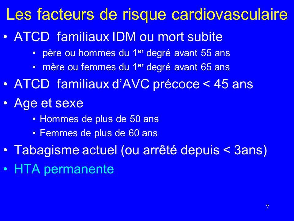 7 Les facteurs de risque cardiovasculaire ATCD familiaux IDM ou mort subite père ou hommes du 1 er degré avant 55 ans mère ou femmes du 1 er degré ava