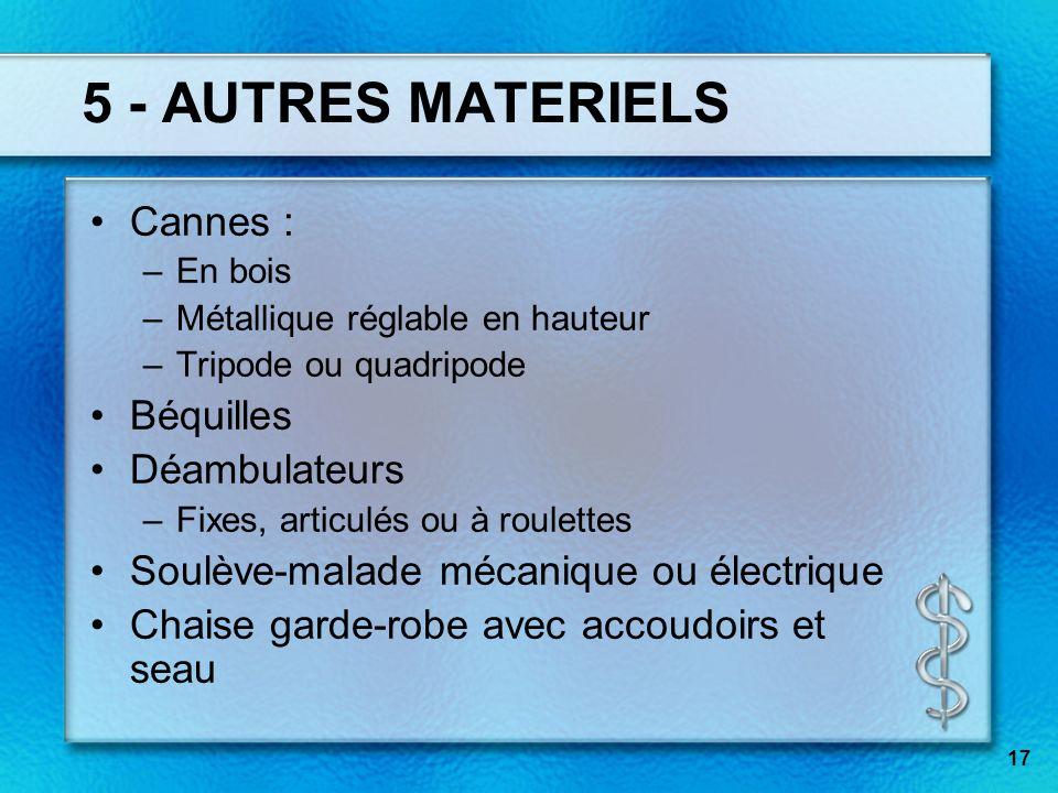 17 5 - AUTRES MATERIELS Cannes : –En bois –Métallique réglable en hauteur –Tripode ou quadripode Béquilles Déambulateurs –Fixes, articulés ou à roulet