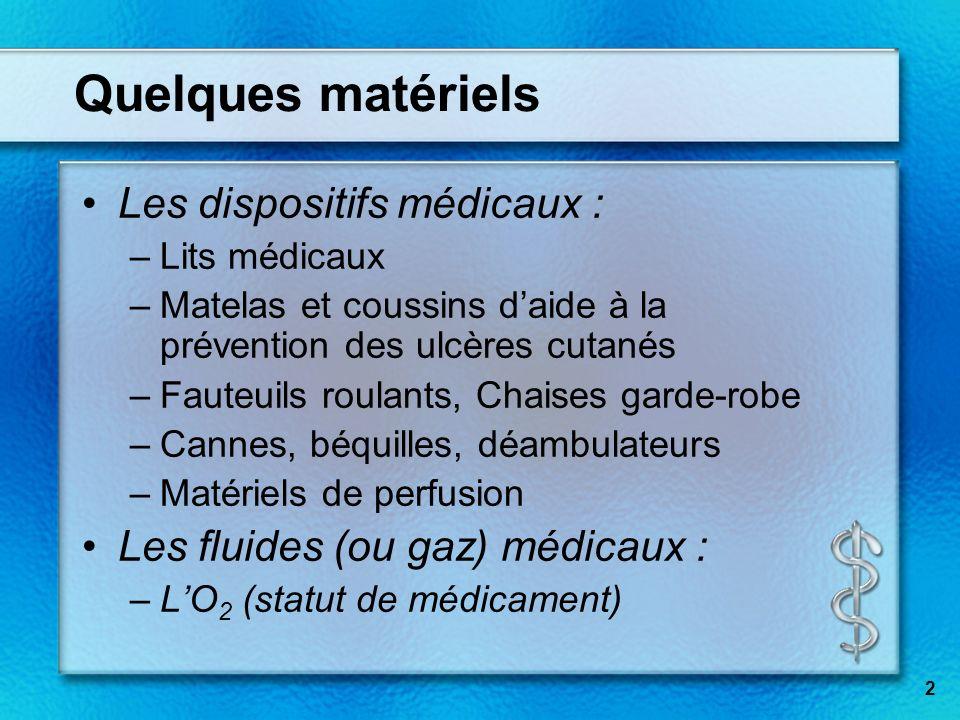 2 Quelques matériels Les dispositifs médicaux : –Lits médicaux –Matelas et coussins daide à la prévention des ulcères cutanés –Fauteuils roulants, Cha