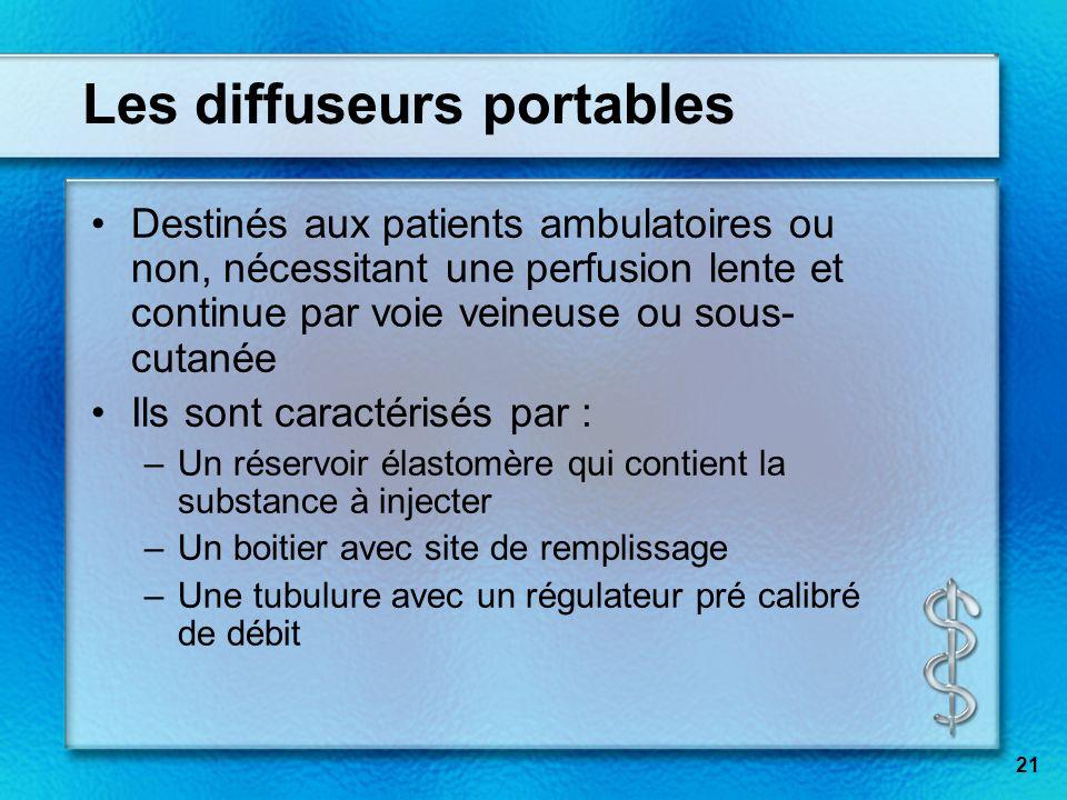 Les diffuseurs portables Destinés aux patients ambulatoires ou non, nécessitant une perfusion lente et continue par voie veineuse ou sous- cutanée Ils
