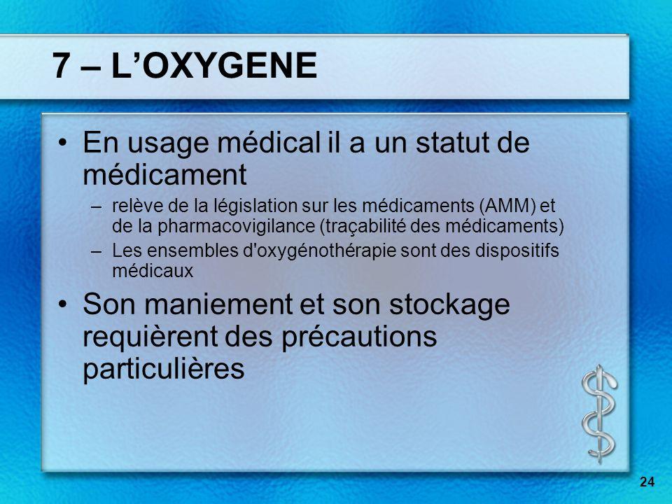 7 – LOXYGENE En usage médical il a un statut de médicament –relève de la législation sur les médicaments (AMM) et de la pharmacovigilance (traçabilité