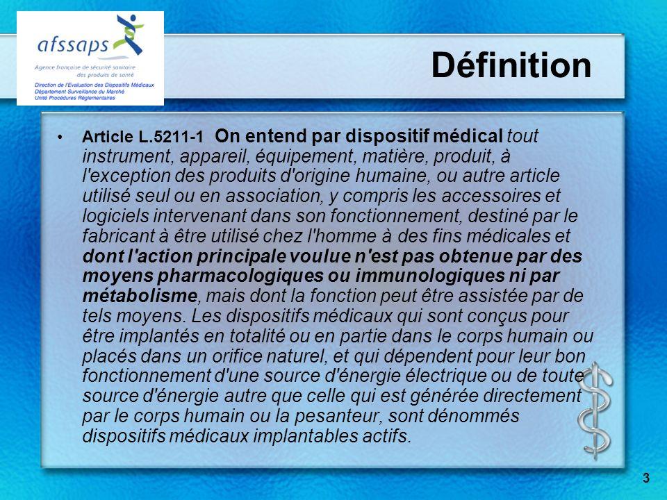 Définition Article L.5211-1 On entend par dispositif médical tout instrument, appareil, équipement, matière, produit, à l'exception des produits d'ori