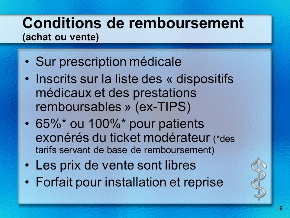 8 Conditions de remboursement (achat ou vente) Sur prescription médicale Inscrits sur la liste des « dispositifs médicaux et des prestations remboursa
