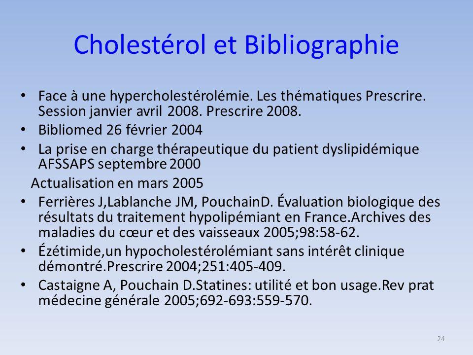 Cholestérol et Bibliographie Face à une hypercholestérolémie.