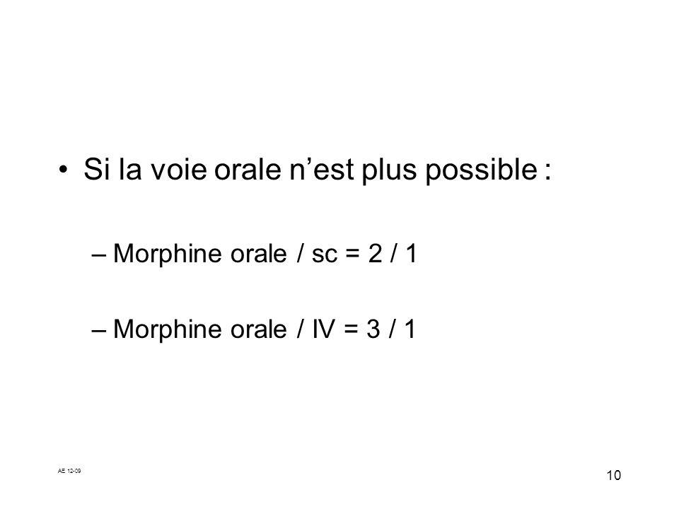 AE 12-09 10 Si la voie orale nest plus possible : –Morphine orale / sc = 2 / 1 –Morphine orale / IV = 3 / 1