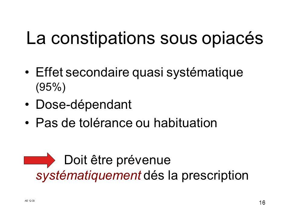 AE 12-09 16 La constipations sous opiacés Effet secondaire quasi systématique (95%) Dose-dépendant Pas de tolérance ou habituation Doit être prévenue