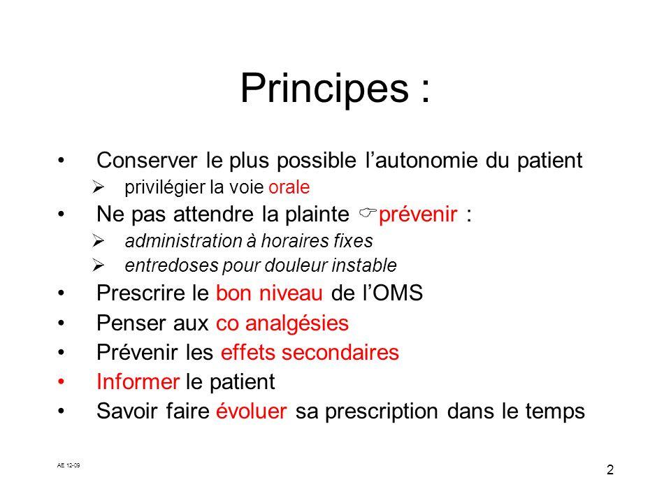AE 12-09 2 Principes : Conserver le plus possible lautonomie du patient privilégier la voie orale Ne pas attendre la plainte prévenir : administration