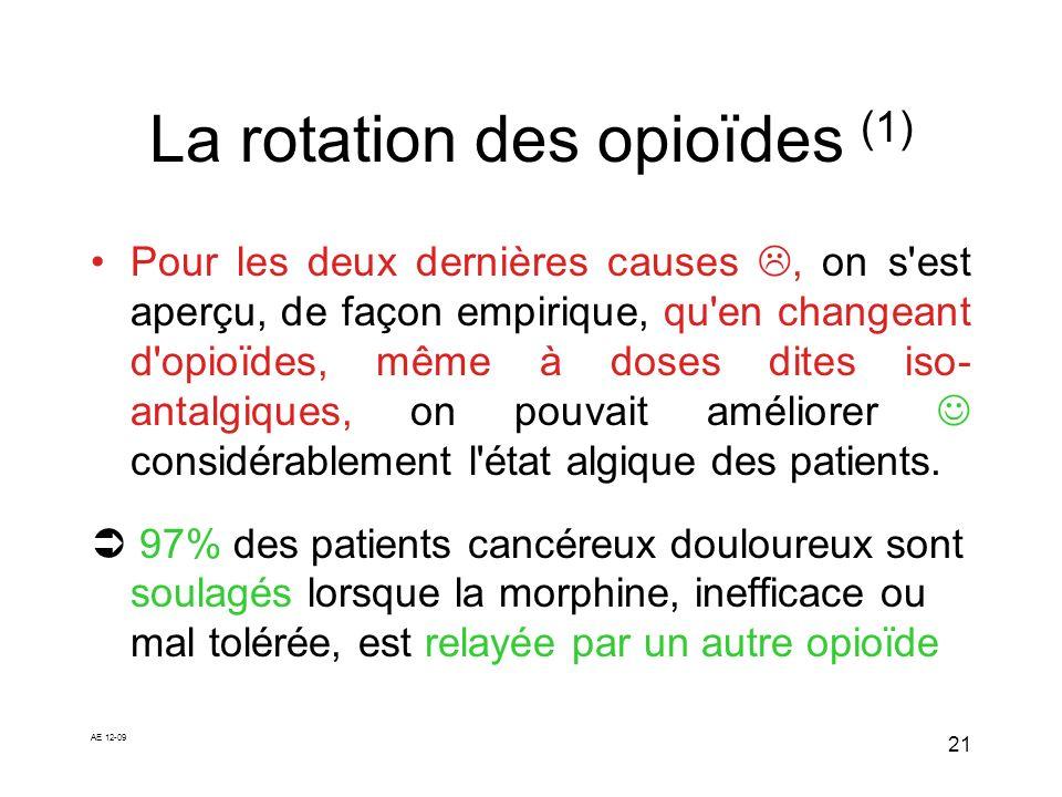 AE 12-09 21 La rotation des opioïdes (1) Pour les deux dernières causes, on s'est aperçu, de façon empirique, qu'en changeant d'opioïdes, même à doses