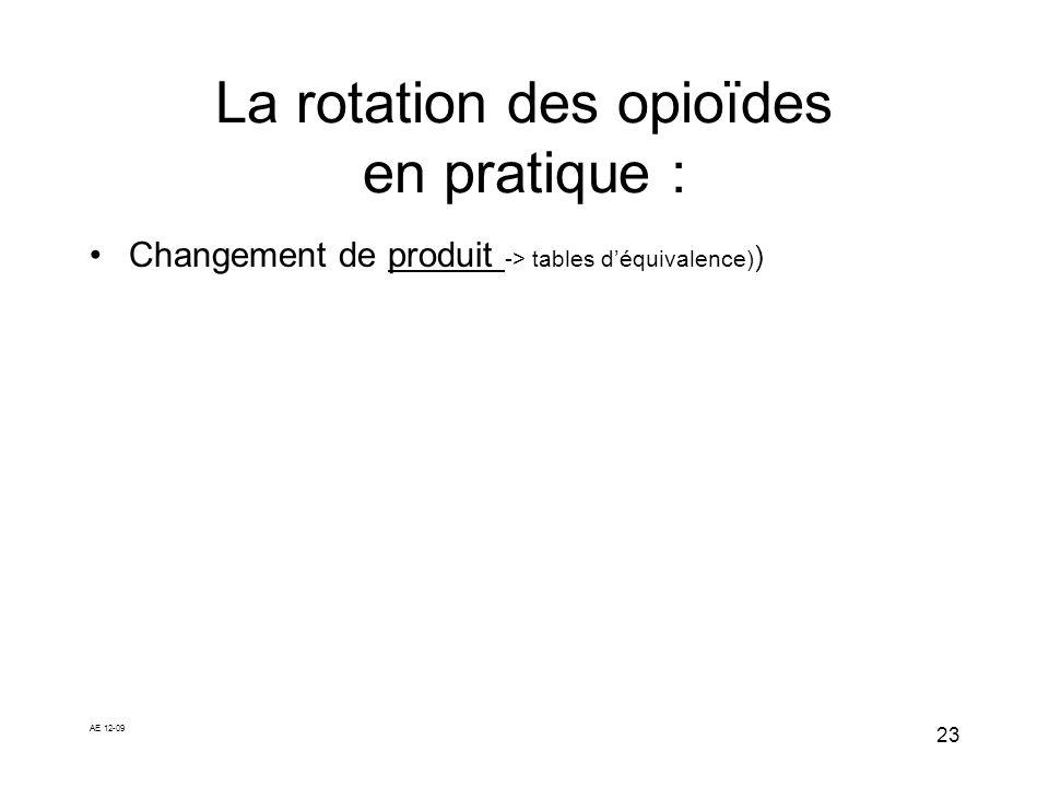 AE 12-09 23 La rotation des opioïdes en pratique : Changement de produit -> tables déquivalence) )