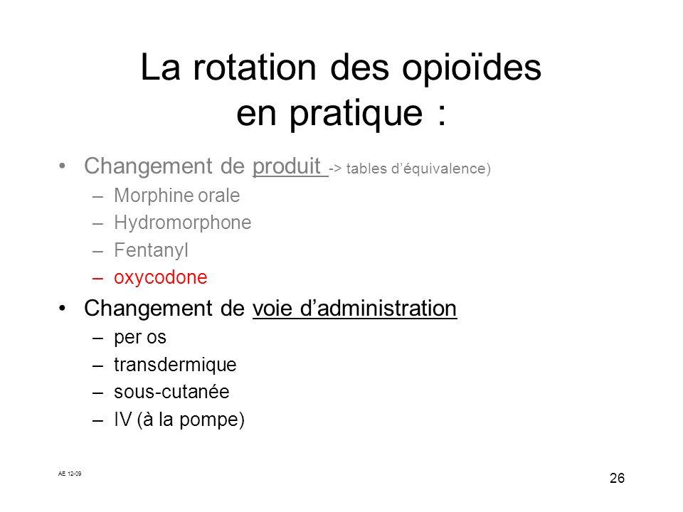AE 12-09 26 La rotation des opioïdes en pratique : Changement de produit -> tables déquivalence) –Morphine orale –Hydromorphone –Fentanyl –oxycodone C