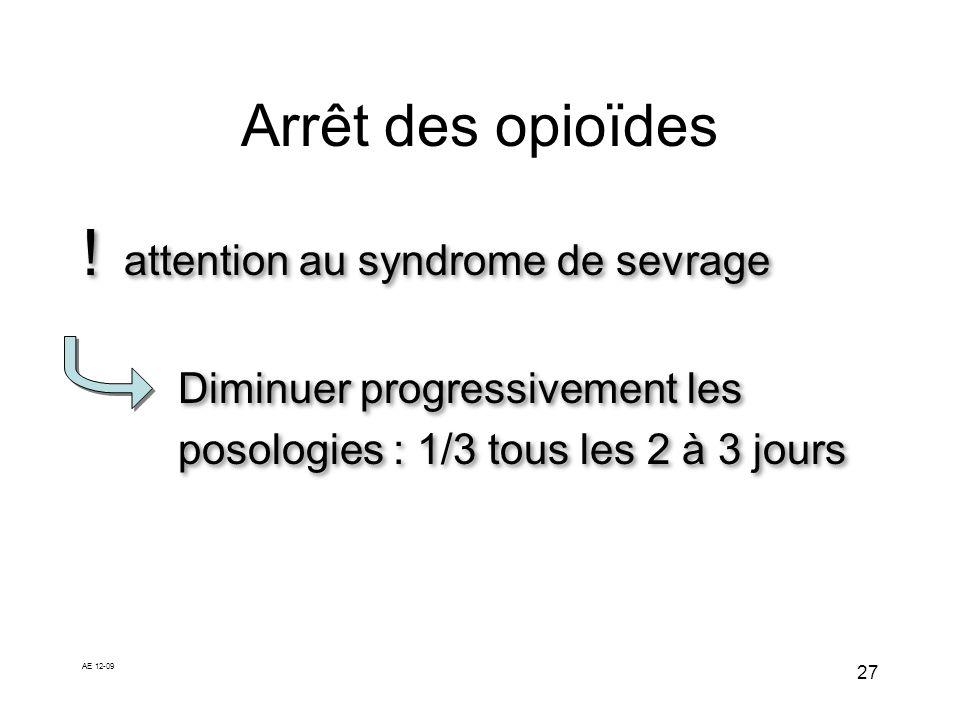AE 12-09 27 Arrêt des opioïdes ! attention au syndrome de sevrage Diminuer progressivement les posologies : 1/3 tous les 2 à 3 jours ! attention au sy