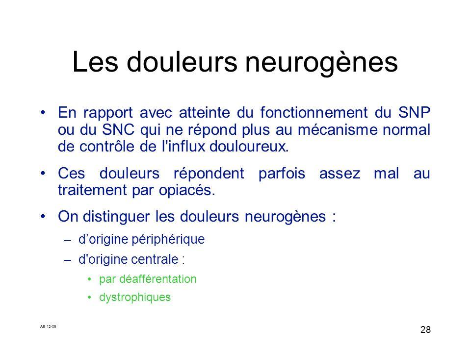 AE 12-09 28 Les douleurs neurogènes En rapport avec atteinte du fonctionnement du SNP ou du SNC qui ne répond plus au mécanisme normal de contrôle de