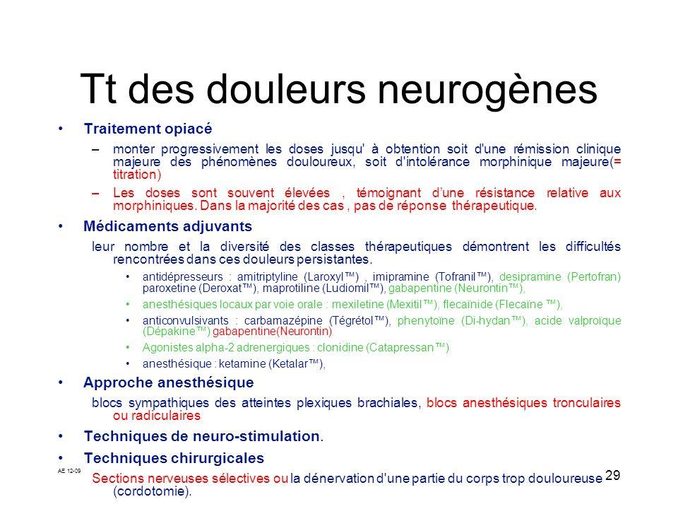 AE 12-09 29 Tt des douleurs neurogènes Traitement opiacé –monter progressivement les doses jusqu' à obtention soit d'une rémission clinique majeure de