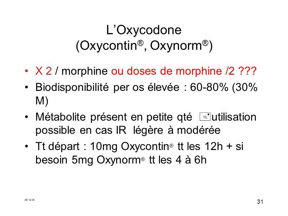 AE 12-09 31 LOxycodone (Oxycontin ®, Oxynorm ® ) X 2 / morphine ou doses de morphine /2 ??? Biodisponibilité per os élevée : 60-80% (30% M) Métabolite