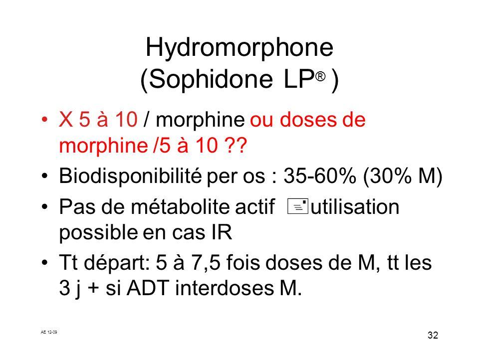 AE 12-09 32 Hydromorphone (Sophidone LP ® ) X 5 à 10 / morphine ou doses de morphine /5 à 10 ?? Biodisponibilité per os : 35-60% (30% M) Pas de métabo