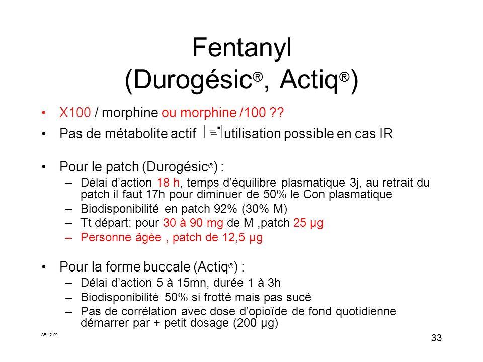 AE 12-09 33 Fentanyl (Durogésic ®, Actiq ® ) X100 / morphine ou morphine /100 ?? Pas de métabolite actif utilisation possible en cas IR Pour le patch