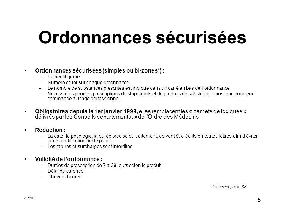 AE 12-09 5 Ordonnances sécurisées Ordonnances sécurisées (simples ou bi-zones*) : –Papier filigrané –Numéro de lot sur chaque ordonnance –Le nombre de